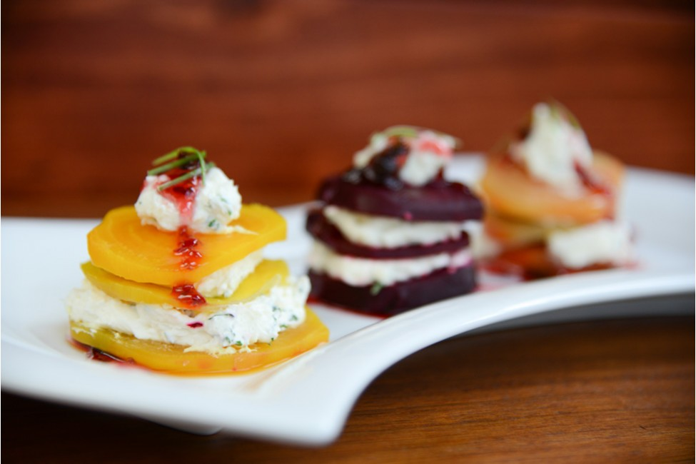 Roasted Beet Napoleons with Ginger with a Snap Drizzle