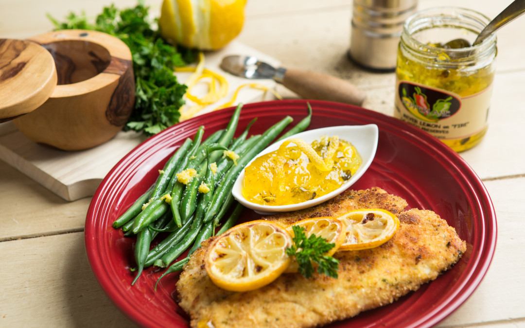 Panko Crusted Tilapia w/ Meyer Meyer Lemon on Fire Drizzle