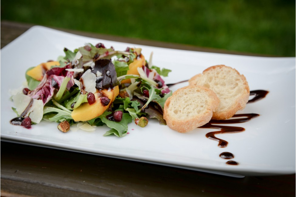 Perfect Holiday Salad dressed with Pomegranate Reduction